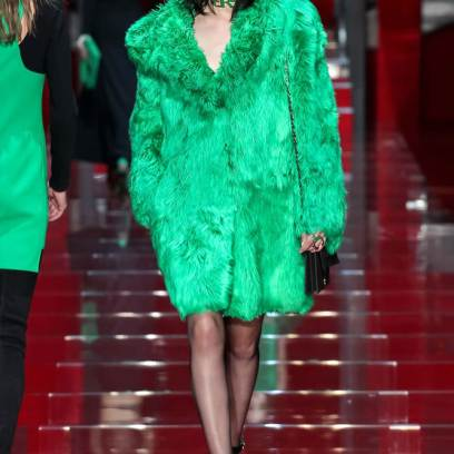 Versace Fall 2015 green fur coat as seen on Rihanna
