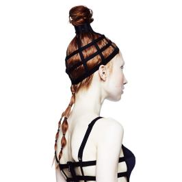 Chromat top knot cage headpiece as seen on Rihanna