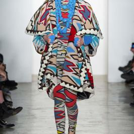 KTZ Fall 2015 tribal print coat and leggings as seen on Rihanna