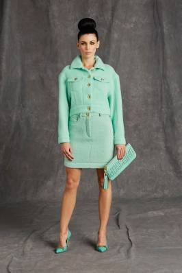 Moschino Pre-Fall 2015 pastel green bouclé jacket and skirt
