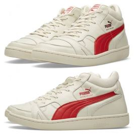 Puma Boris Becker OG whisper white/red mid-top sneakers as seen on Rihanna