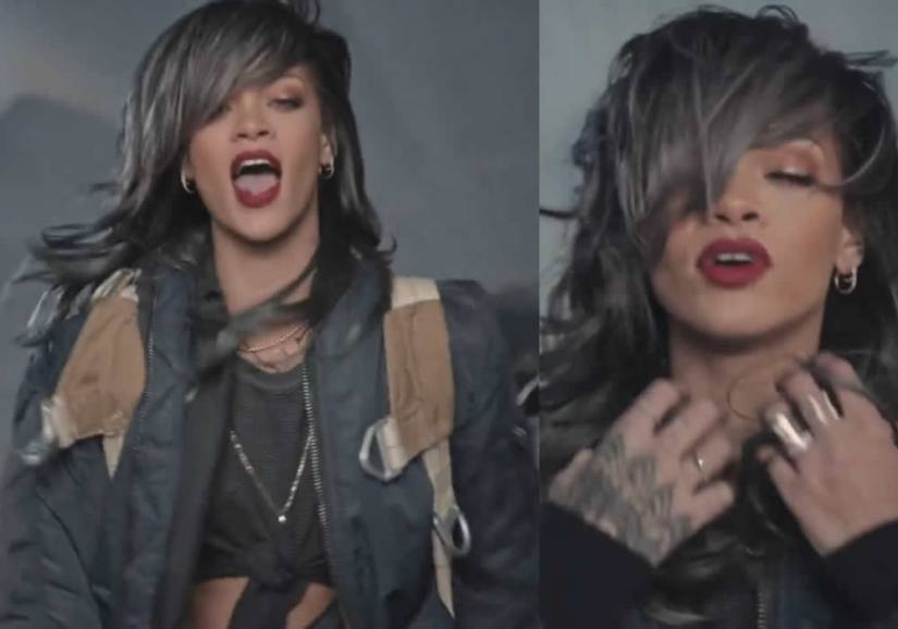 Rihanna wearing vintage Schott NYC flight jacket, Inez and Vinoodh black leather necklace, Mara Carrizo Scalise raw eternity necklace, Jennifer Fisher gothic letter cigar band, Mason Stanley diamond double harpoon ring in American Oxygen music video