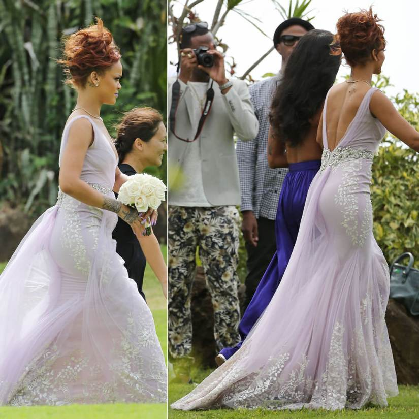 Rihanna wearing Badgley Mischka Spring 2014 lilac gown at a wedding in Hawaii