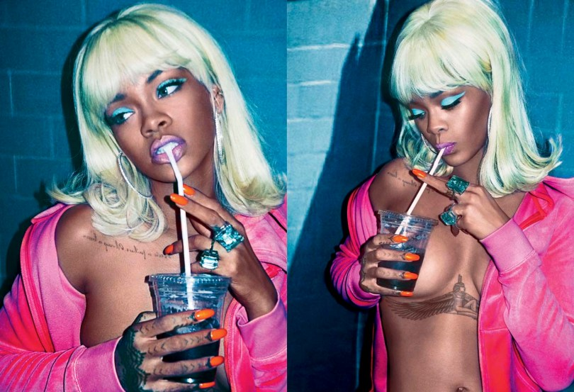Rihanna in V magazine summer 2015 issue wearing Juicy Couture pink velour jacket and Kenneth Jay Lane cocktail rings