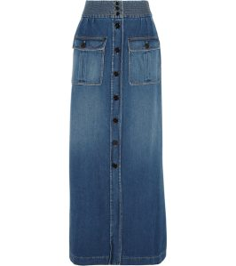 Chloé stonewash denim maxi skirt as seen on Rihanna