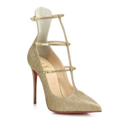 Christian Louboutin lamé triple strap Muse pumps as seen on Rihanna