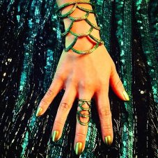 Lynn Ban tsavorite and sapphire Sirene cuff bracelet and ring as seen on Rihanna