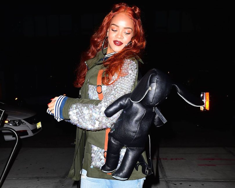 Rihanna wearing Rodarte Spring 2015 sequin mesh olive jacket, Dominic Louis x Mandy Coon black leather bunny backpack