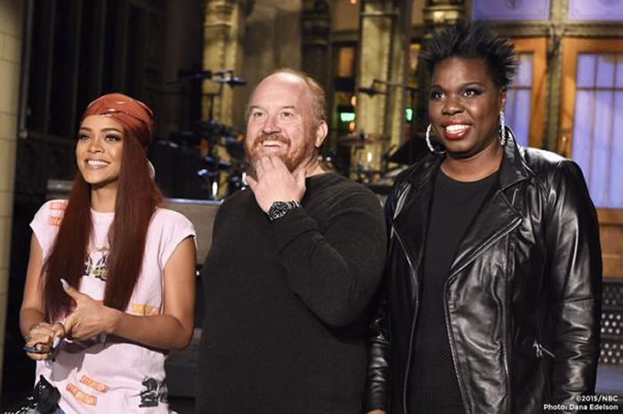 Rihanna with Louis C.K and Leslie Jones filming Saturday Night Live SNL promo