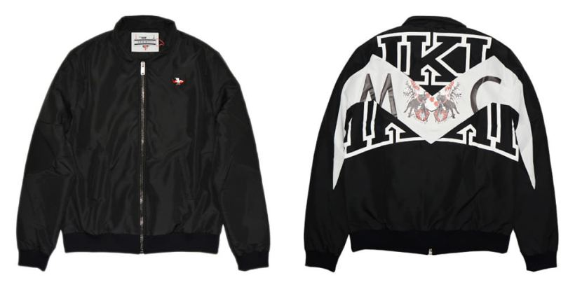 Sam MC London black big logo jacket as seen on Rihanna