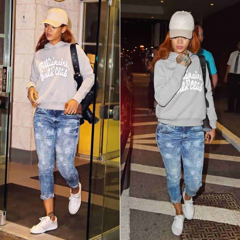Rihanna wearing Lucid FC baseball hat, Billionaire Girls Club Sally hoodie sweatshirt, G-Star RAW for the Oceans distressed cropped jeans, Puma Basket Classic white sneakers, Dominic Louis x Mandy Coon leather bunny backpack, Ivy New York ring