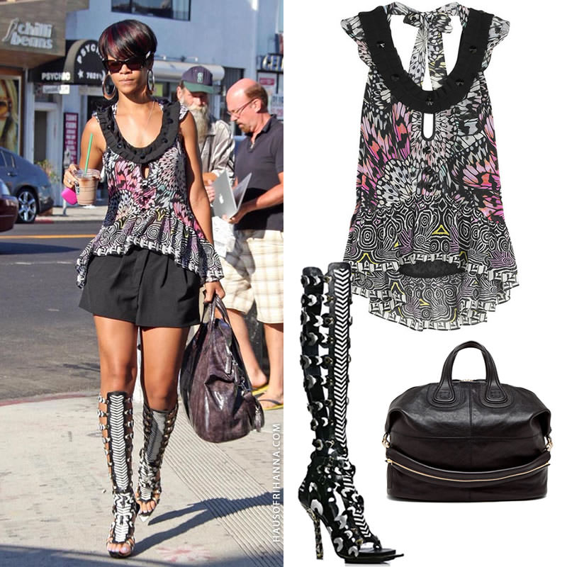 Rihanna in Matthew Williamson butterfly print vest, Balenciaga Spring 2008 gladiator sandals, Givenchy Nightingale handbag