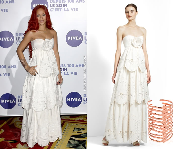 Rihanna wearing BCBG Max Azria Marley white eyelet dress and Bjorg After Eden vertebrae spine cuff during Nivea 100 Years of Skincare event in Milan, Italy