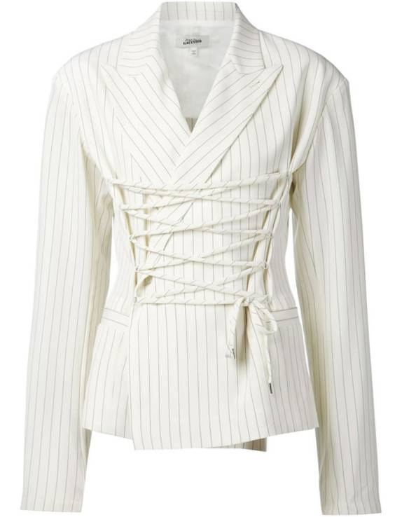 Jean Paul Gaultier white pinstripe blazer as seen on Rihanna