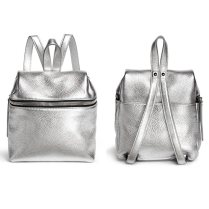 Kara silver pebbled leather backpack as seen on Rihanna