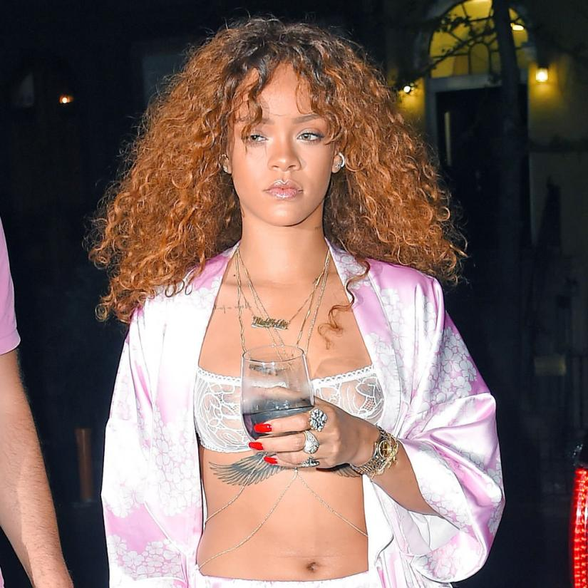 Rihanna wearing Eres Tempera bra, Mala by Patty Rodriguez ride or die necklace, Jacquie Aiche dragon body chain and five diamond body chain, Jennifer Meyer diamond lizard cuff