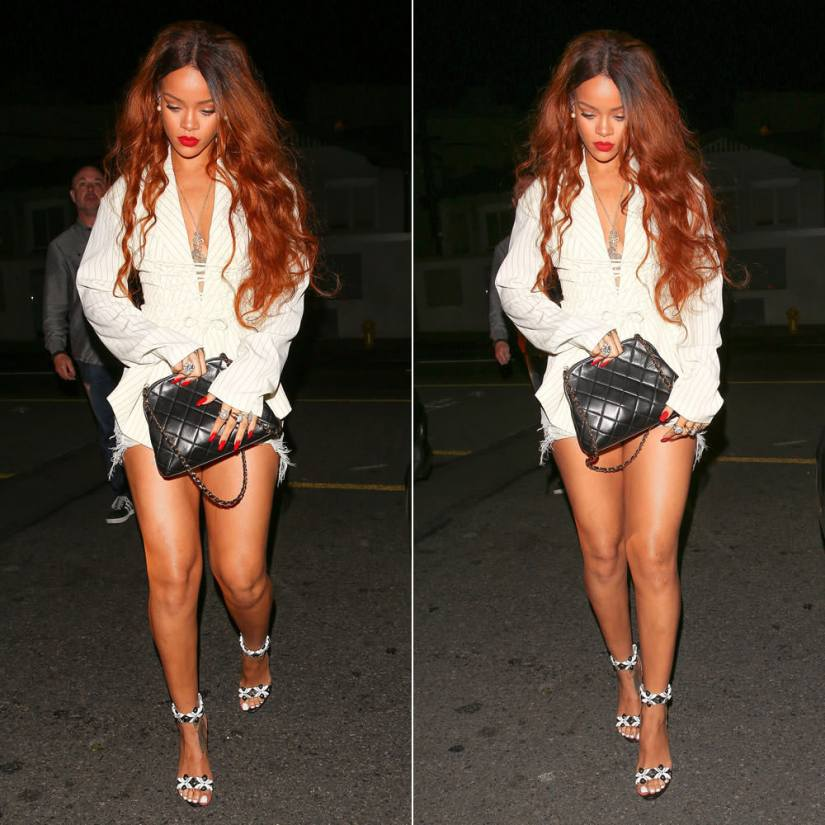 Rihanna Jean Paul Gaultier white pinstripe jacket, Azzedine Alaia cut out sandals