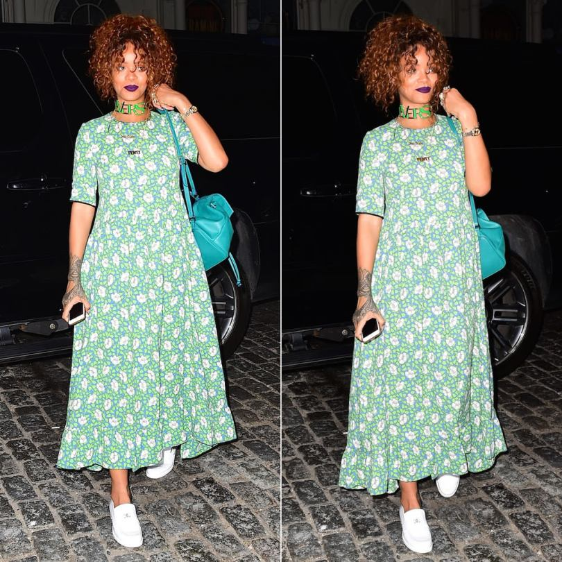 Rihanna wearing Marni green floral print dress, Chanel Fall 2014 white loafers, Versace Fall 2015 choker