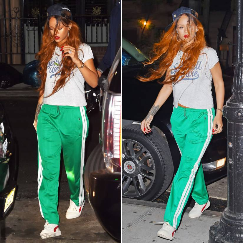 Rihanna Mitchell and Ness Just Don Brooklyn Nets denim hat, Spharell We Are logo t-shirt, Isabel Marant Patsy green track pants, Puma Boris Becker OG sneakers