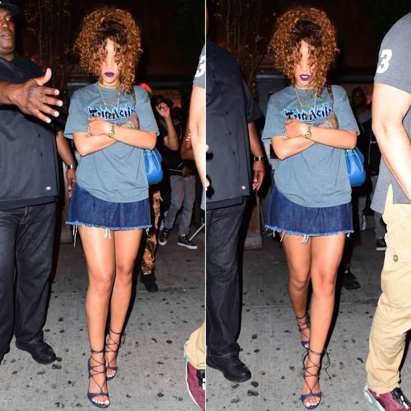Rihanna wearing Thrasher grey flame logo t-shirt, Marques'Almeida frayed denim skirt, Stuart Weitzman legwrap sandals
