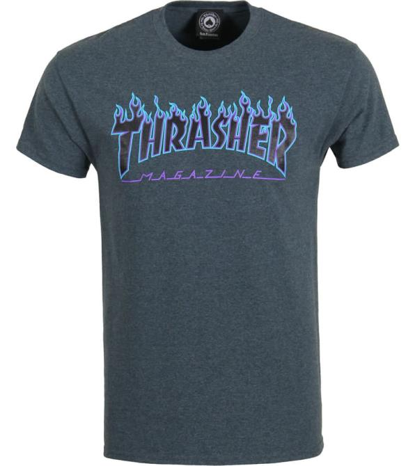Thrasher grey flame logo t-shirt as seen on Rihanna