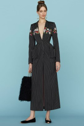 Ulyana Sergeenko Spring 2015 pinstripe coat with floral detail as seen on Rihanna