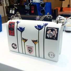Dior Resort 2016 Diorama handbag with patches as seen on Rihanna