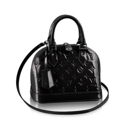 Louis Vuitton Alma BB handbag in black monogram vernis