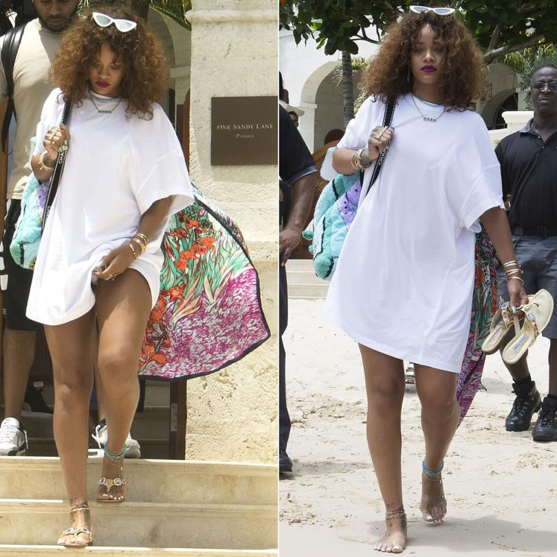 Rihanna wearing Adam Selman x Le Specs the last lolita cat eye sunglasses, Andrea Crews oversized scarf t-shirt, Manolo Blahnik Cesabi sandals, Chanel vintage terry cloth backpack, Jacquie Aiche jewelry