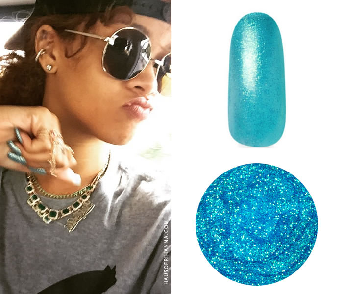 Rihanna wearing Gelish Party at the Palace and Light Elegance Snow Cone gel nail polish