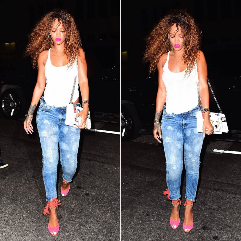 Rihanna wearing G-Star RAW for the Oceans cropped distressed jeans, Pierre Hardy Majorelle pink suede tassel sandals, Dior Resort 2016 Diorama patch handbag