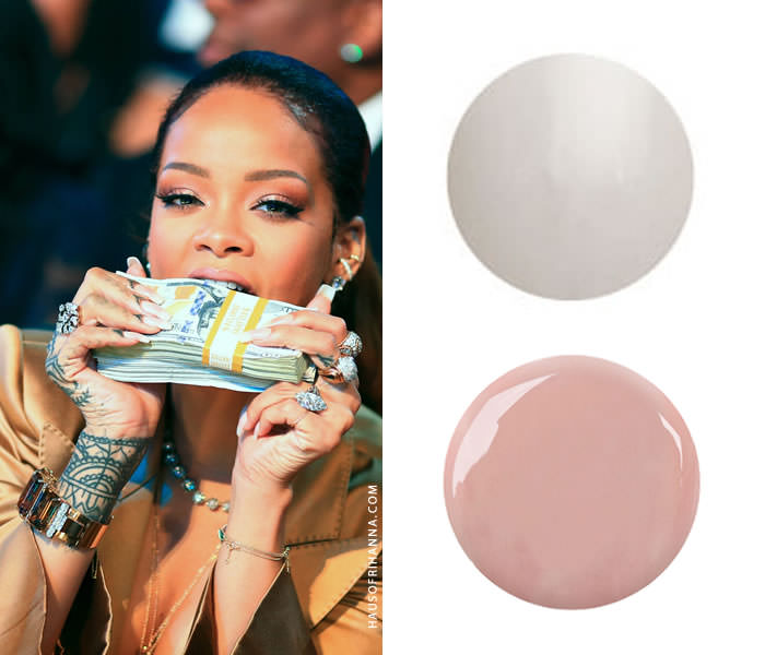 Rihanna wearing Red Carpet Manicure Candid Moment and White Hot gel polish