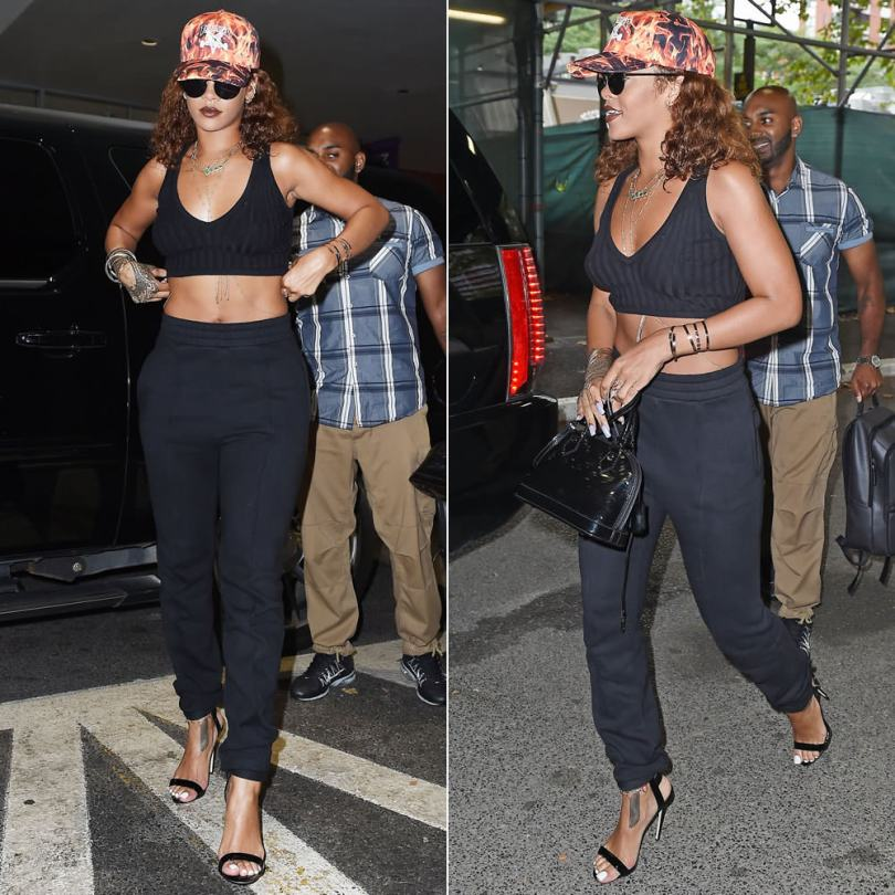 Rihanna wearing Thrasher inferno flames cap, Le Specs Wild Child black sunglasses, Vetements black panelled stirrup sweatpants, Giuseppe Zanotti cage sandals, Louis Vuitton Alma BB black monogram vernis handbag