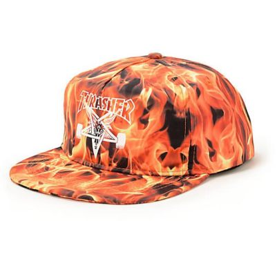 Thrasher Inferno snapback hat as seen on Rihanna