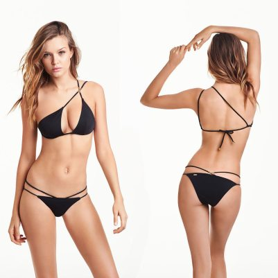 Victoria's Secret one-shoulder triangle top and double-strap cheeky bottom as seen on Rihanna