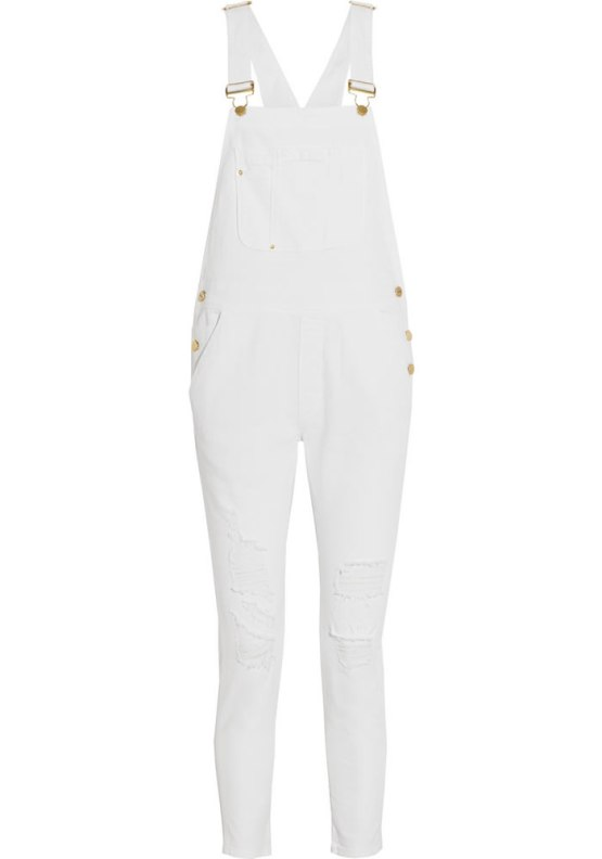 Frame Denim Le Garcon white overalls as seen on Rihanna