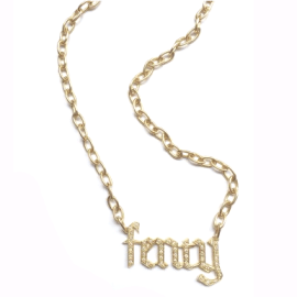 "Jennifer Fisher custom Fenty"" gothic letter diamond necklace as seen on Rihanna"