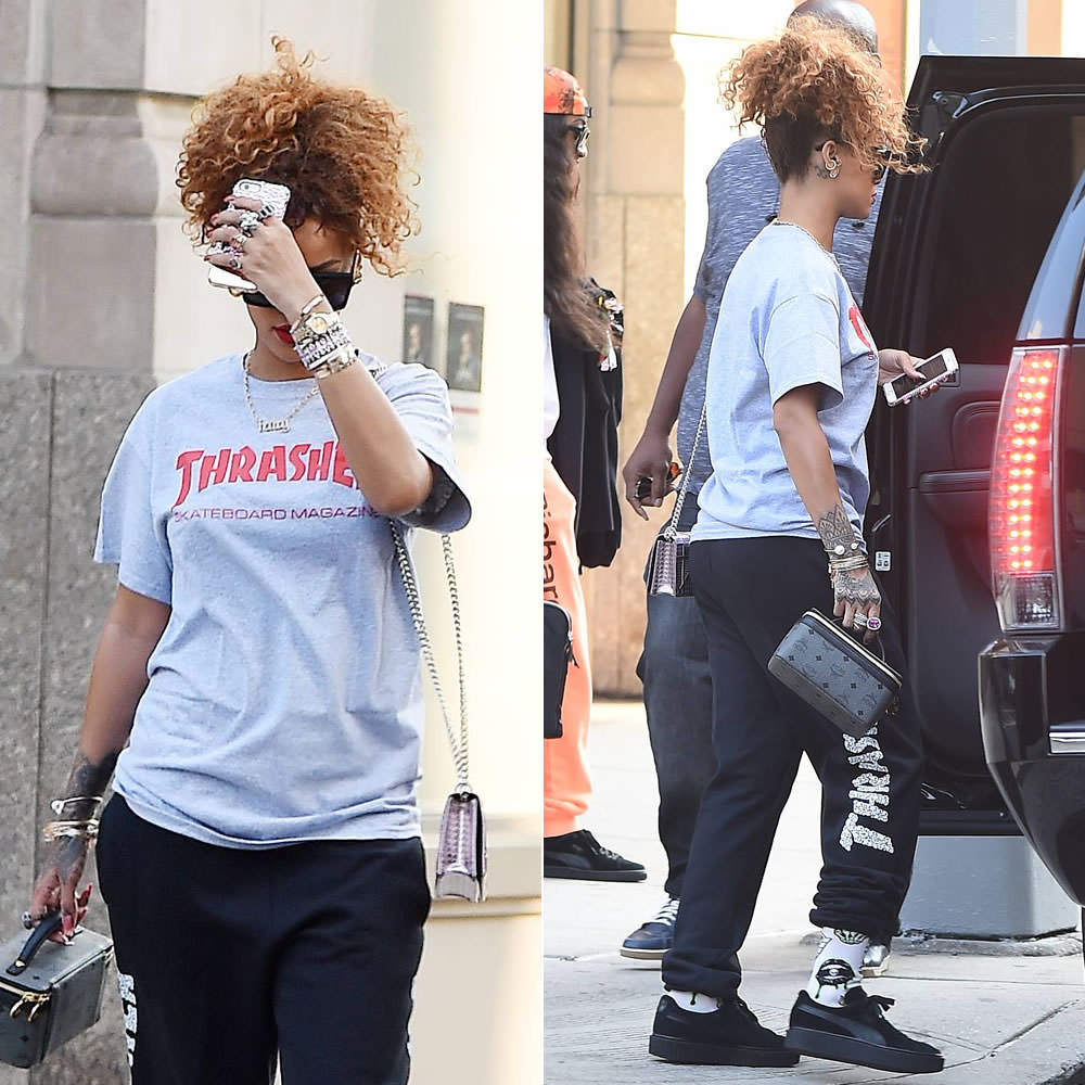 Rihanna In Thrasher Skull Sweatpants Haus Of Rihanna
