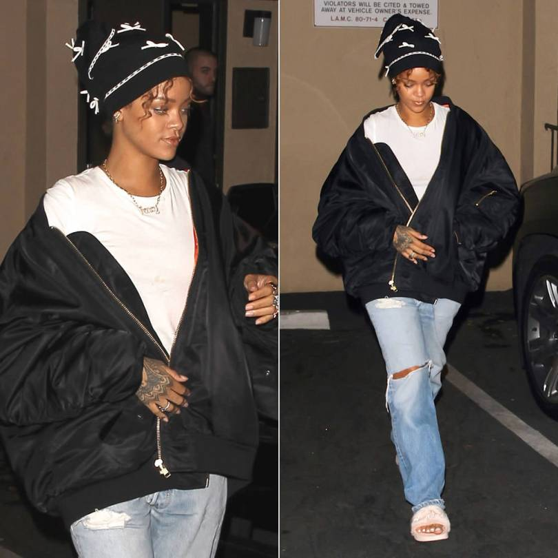 Rihanna wearing Adam Selman bow-embellished beanie and Vetements Fall 2015 black oversized bomber jacket, Puma fur slides