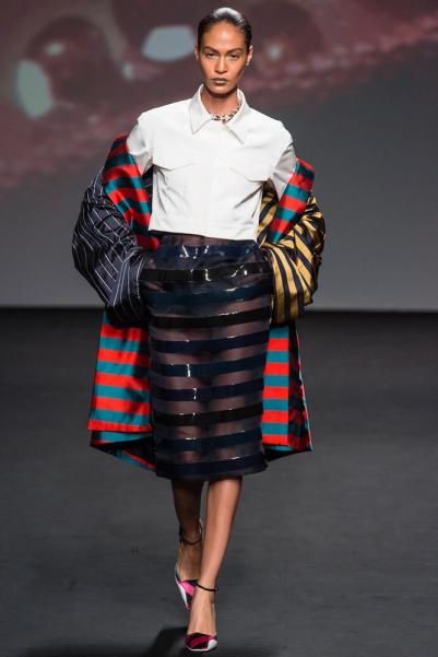 Dior Fall 2013 couture striped coat and button-front cropped top as seen on Rihanna