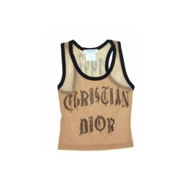 Christian Dior Spring 2002 mesh logo tank top as seen on Rihanna