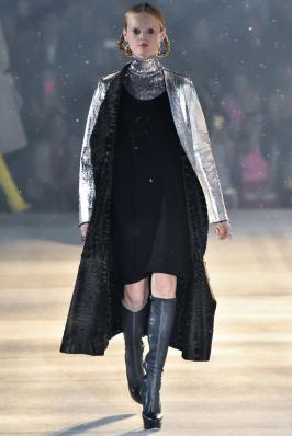 Christian Dior pre-fall 2015 silver fur-lined coat as seen on Rihanna