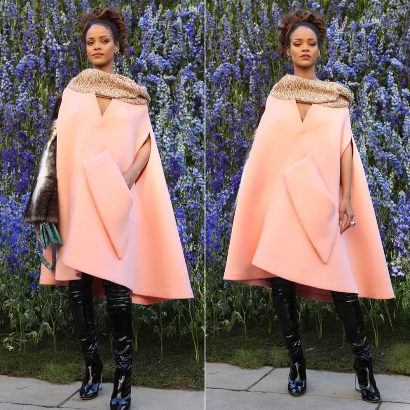 Rihanna wearing Dior Fall 2015 couture pink coat, Fall 2015 over-the-knee patent leather boots with perspex heel, Diorama green graded lizard handbag at Dior Spring 2016 fashion show