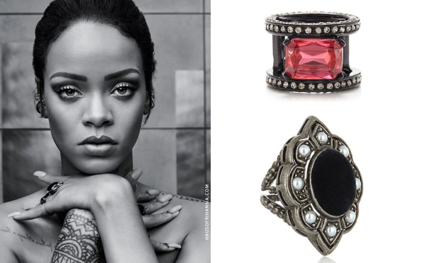 Rihanna wearing Oscar de la Renta octagon crystal ring and Gucci pearl and velvet ring in T magazine October 2015