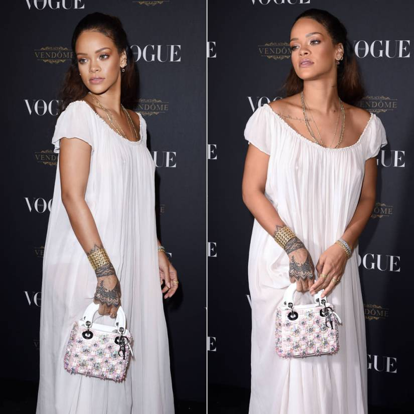 Rihanna wearing Dior Fall 2015 couture white dress and sequinned platform sandals, Lady Dior crystal embellished handbag, My Dior rings and bracelets