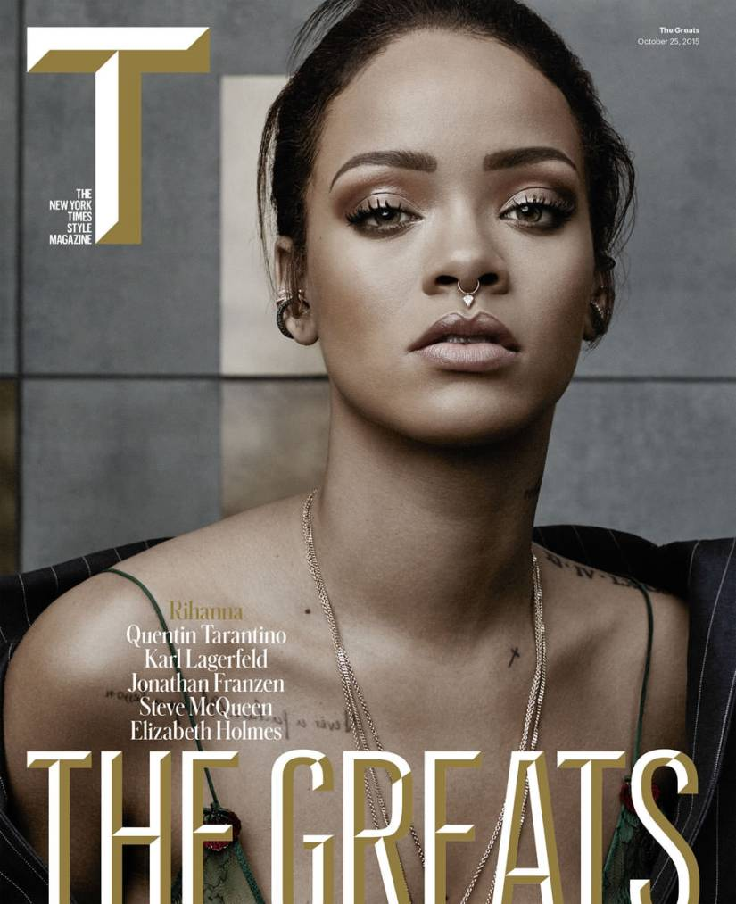 Rihanna on the cover of T Magazine October 2015