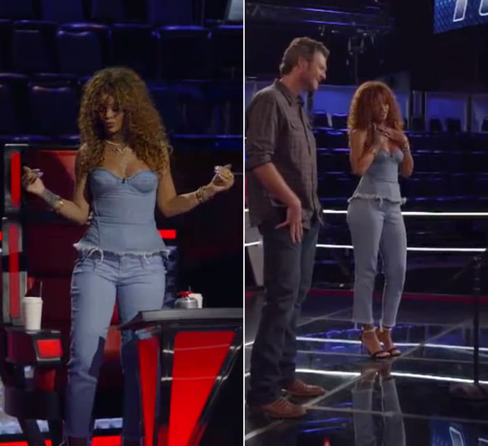 Rihanna on The Voice wearing Marques'Almeida Fall 2015 denim corset bustier and Resort 2016 frayed cropped jeans, Manolo Blahnik Chaos pearl ankle strap sandals