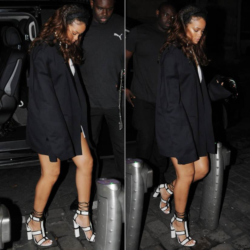 Rihanna wearing Tom Ford white patchwork sandals