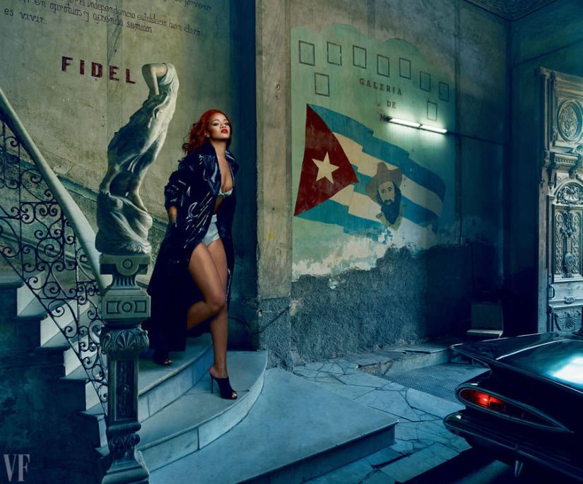 Rihanna in Vanity Fair November 2015 wearing Dior pre-Fall 2015 patent coat