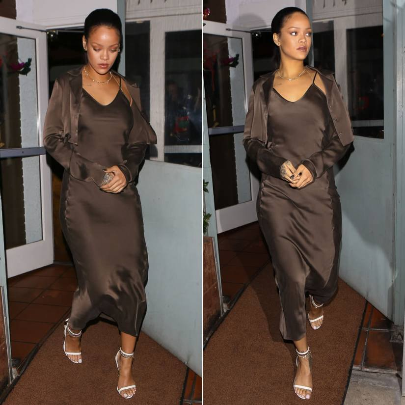 Rihanna Awaveawake brown slip dress jacket Spring 2016